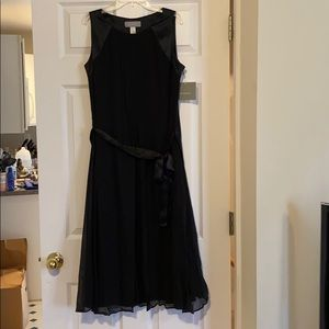 NWT Silk Black Sleeveless Mid-Length Dress